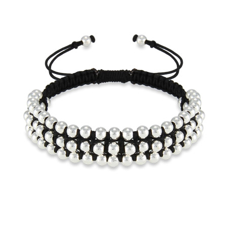 Multi Beaded Black Triple Row Friendship Bracelet