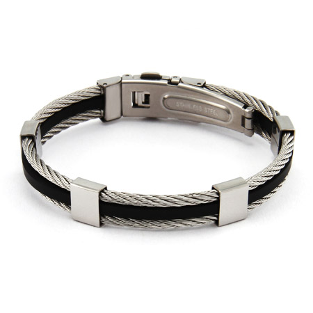 Men's Cable with Rubber Inlay Steel Bracelet