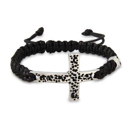 Men's Stainless Steel Cross Bracelet With Skull