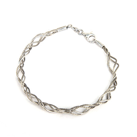 Italian Sterling Silver Twisted Design Bracelet