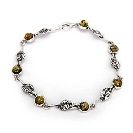 Sterling Silver Green Baltic Amber Leaf Bracelet