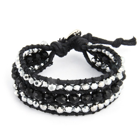 Chen Rai Shimmering Silver and Black Leather Beaded Single Wrap Bracelet