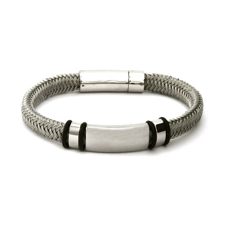 Men's Braided Platinum Gray Cord Engravable ID Bracelet