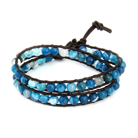 Chen Rai Shades of Blue Agate Double Row Wrap Bracelet