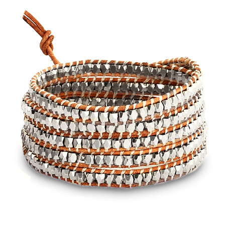Chen Rai Silver Nugget Long Wrap Bracelet on Beige Leather