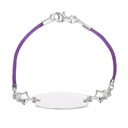 Kid's Purple Silk Cord ID Bracelet with Star Charm