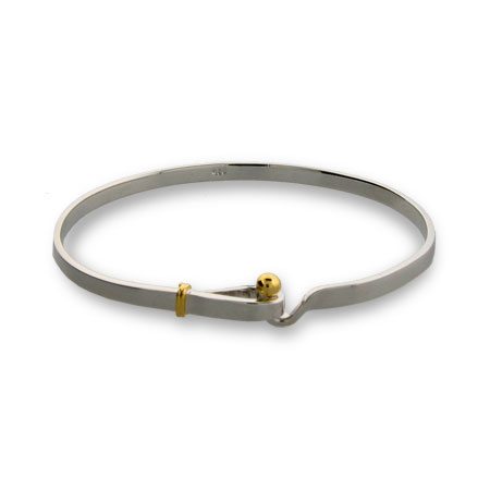 Tiffany Style Sterling Silver Hook and Eye Bangle Bracelet