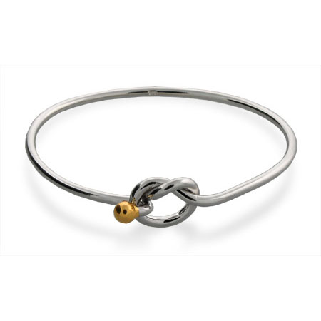 Tiffany Style Sterling Silver Love Knot Bangle Bracelet