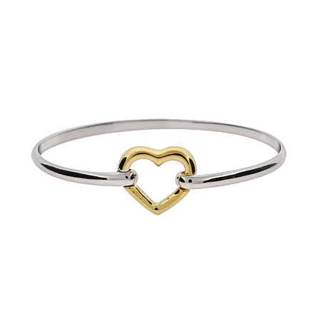 Tiffany Style Floating Heart Bangle Bracelet