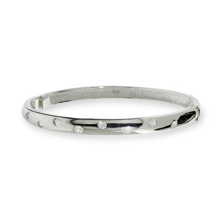 Tiffany Inspired Etoile CZ Sterling Silver Bangle Bracelet