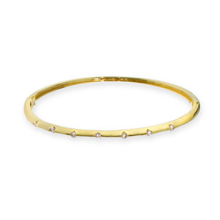 Designer Inspired Classic Skinny CZ Gold Vermeil Bangle