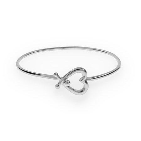 Tiffany Inspired Silver Heart Bangle Bracelet