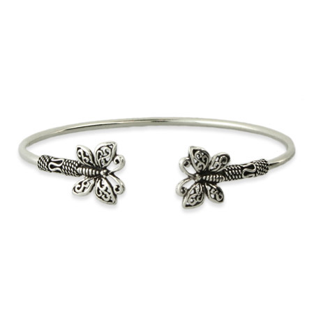 Sterling Silver Bali Butterfly Bangle Bracelet