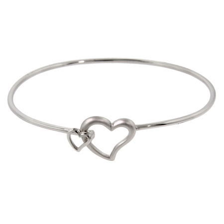 Tiffany Inspired Sterling Silver Double Linked Heart Bangle Bracelet