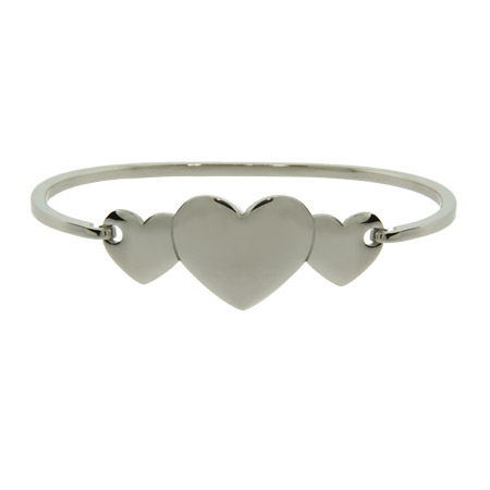 Engravable Three Hearts Bangle Bracelet