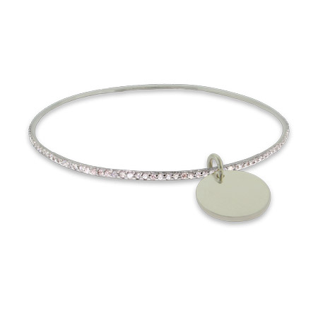 Engravable CZ Sterling Silver Bangle with Round Tag Charm