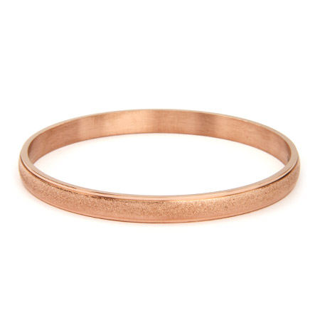 Engravable Frosted Rose Gold Bangle Bracelet