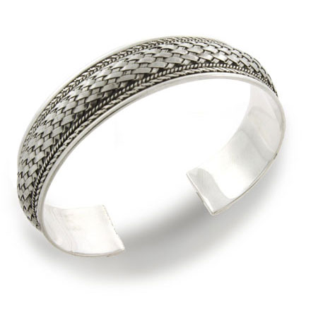 Sterling Silver Cuff Bracelet in Woven Design