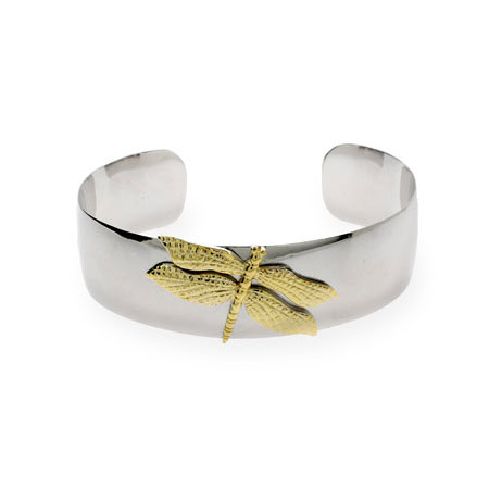 Tiffany Inspired Silver Gold Dragonfly Cuff Bracelet