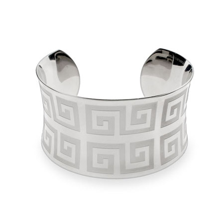 Ladies Greek Design Stainless Steel Cuff Bracelet