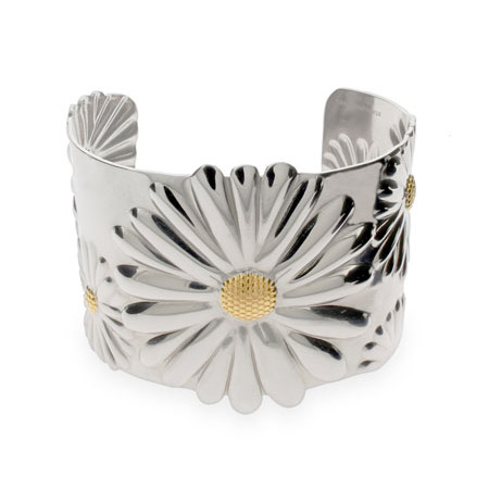 Tiffany Inspired Stainless Steel Daisy Cuff Bracelet