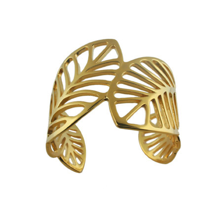 Designer Inspired Golden Leaf Stainless Steel Fashion Cuff Bracelet