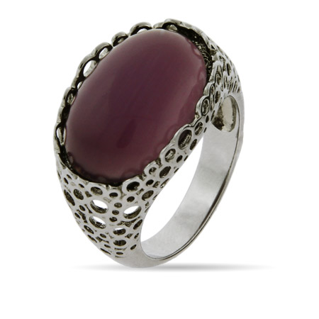 Oval Amethyst CZ Filigree Ring