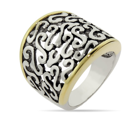 Designer Inspired Scribble Ring with Gold Edging
