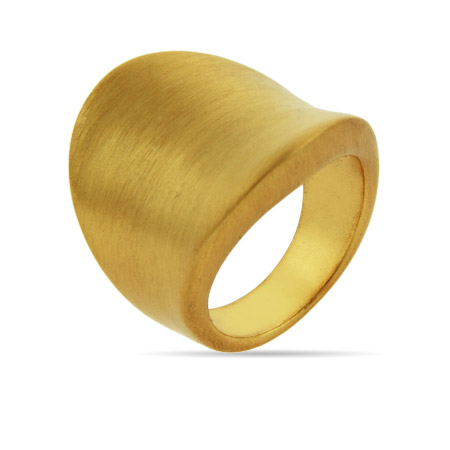 Brushed Golden Concave Ring