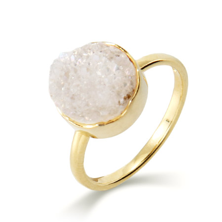 Genuine White Drusy Quartz Round Set Ring