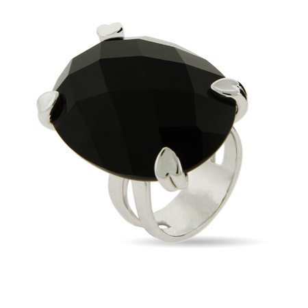 Mega Multi Faceted Onyx Ring in Heart Prong Setting