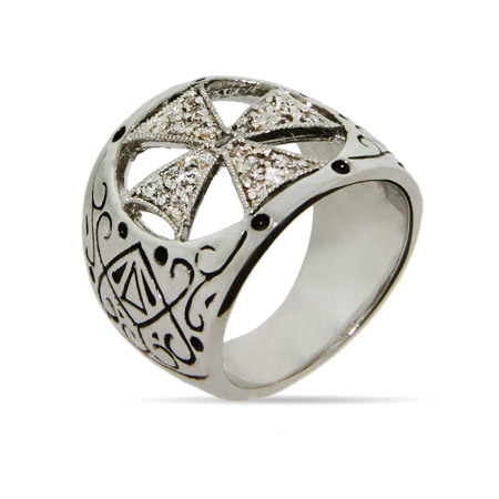 Gothic CZ Cross Ring with Black Inlaid Design