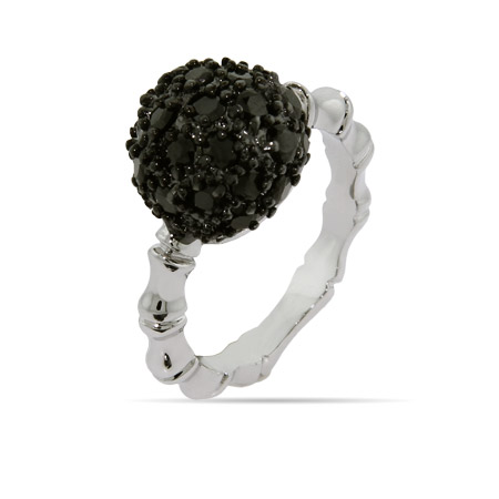 Pave Black CZ Ring with Bamboo Band
