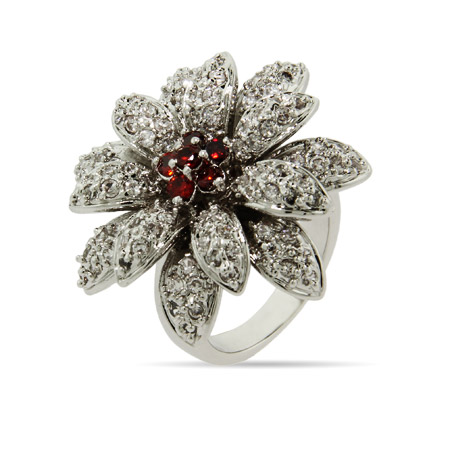 Dazzling Double CZ Flower Cocktail Ring