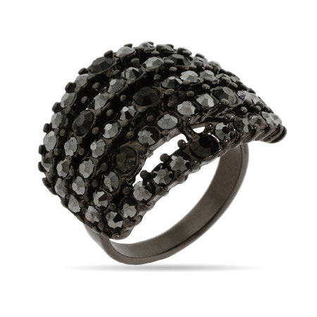 Five Row Smokey Gray Crystal Ring