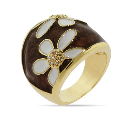 Gold Daisy Ring with White and Brown Enamel
