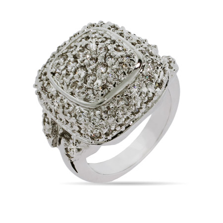 Designer Inspired Pave Cushion Ring