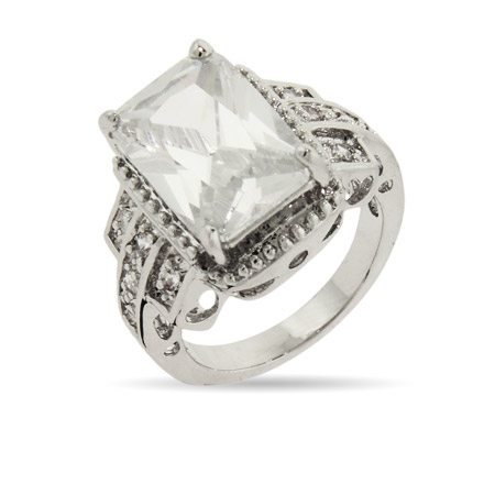 Beyonce's Replica 5 Carat Emerald Cut CZ Engagement Ring