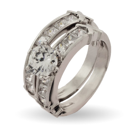 Stunning Channel Set CZ Engagement Ring Set