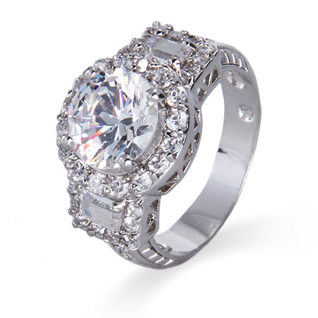 Glamorous Center Brilliant Cut CZ with Baguettes Ring