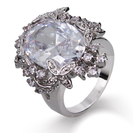 Dazzling Diamond CZ Oval Cut Cocktail Ring with Flower Edging
