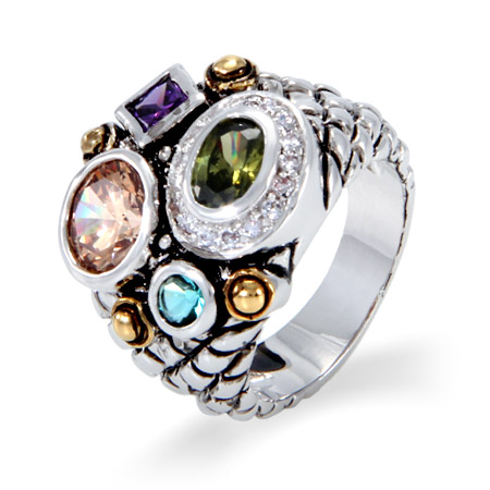 Designer Inspired Multi Color Shapes CZ Ring