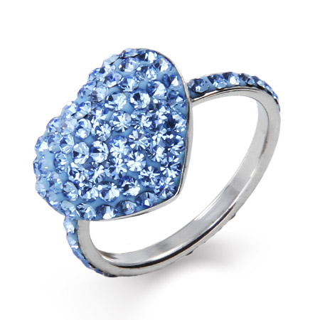 Dazzling Blue Swarovski Crystal Heart Ring