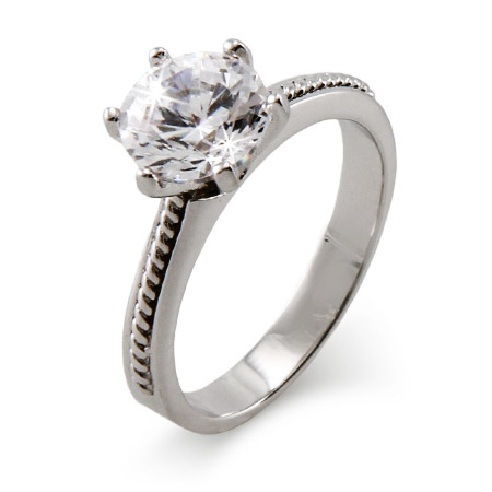 Brilliant Cut 2 Carat CZ Engagement Ring with Detailed Band