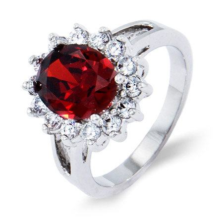 Stunning Garnet and Clear CZ Ring