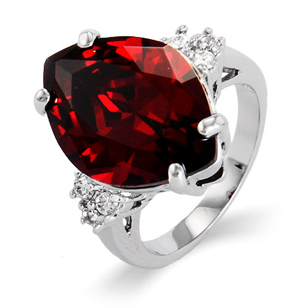 Bold and Beautiful Faceted Garnet CZ Ring