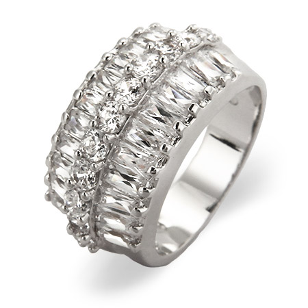 Flashy Baguette and Brilliant Cut CZ Cocktail Ring
