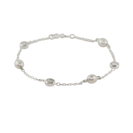 Tiffany Inspired Pearl CZ By The Yard Bracelet