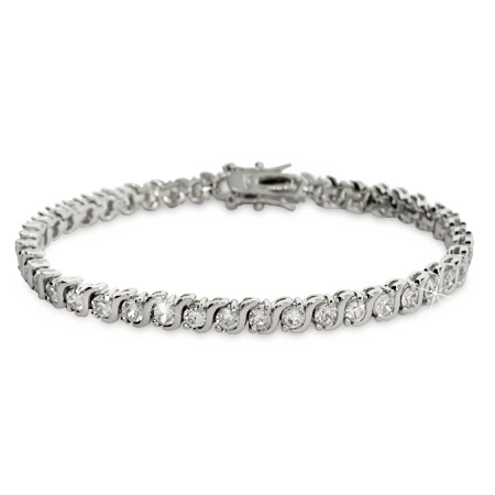 Sterling Silver Cubic Zirconia Single Wave Tennis Bracelet