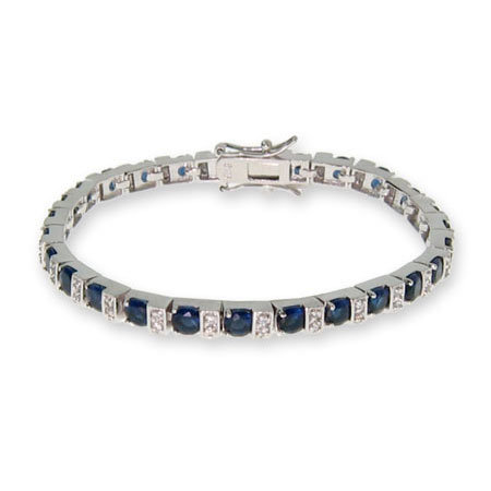 Sapphire and Diamond CZ Tennis Bracelet